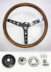 70 3 C10 C20 C30 Blazer 15 Wood Steering Wheel Chrome Spokes Red White Blue Cap