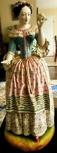 Antique German Signed Ag Very Large 17 Porcelain Woman Figurine