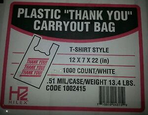 Thank You Grocery Store Carry Out Plastic T shirt Shopping Bags 1000 Ct Case