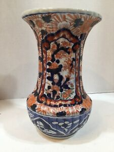 Antique Japanese Baluster Shaped Ribbed Imari Vase 8 1 2 High Meiji Period