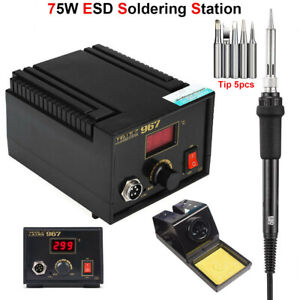 Esd Digital Soldering Iron Station 75w Antistatic Welding Rework Repairing Tool