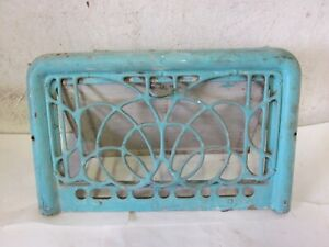 A Antique Vintage Pressed Steel Wall Heat Register Grate Turquoise Color