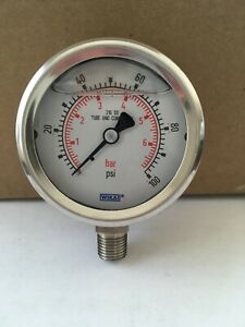 Wika 100 Psi Pressure Gauge 316 Stainless Steel Tube connection