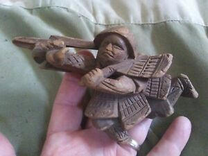 Antique Architectural Wood Carved Asian Warrior Chinese Figurine Pine Remnant 6