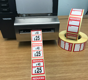 Reduced Was Now Price Stickers Labels For Use With Thermal Printers