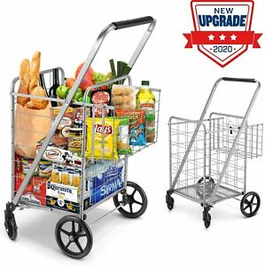 Shopping Cart For Groceries Double Basket Cart 330lbs Folding 360 Wheels