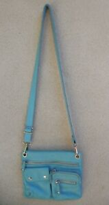 FOSSIL SUTTON LIGHT TURQUOISE LEATHER FRONT POCKETS CROSSBODY BAG SUPER NICE! $9.99