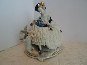 Stunning Dresden Figure Porcelain Lace Lady With Lamb Unterweissbach Germany