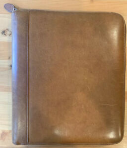 Day timer Brown Distressed Genuine Leather Zippered 3 Ring Binder Planner Folio