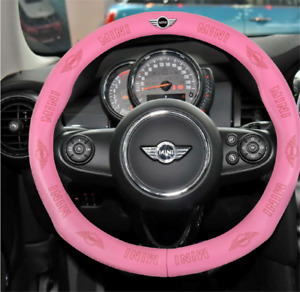 Hot Car Steering Wheel Cover For Mini Genuine Leather Pink 38cm M Size
