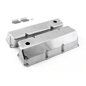 Ford 302 351c Cleveland Polished Aluminum Plain Valve Covers Tall W Hole