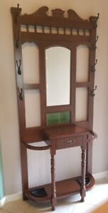 Hall Tree Umbrella Stand Antique English Beveled Mirror Green Tiles Glove Drawer