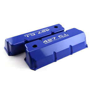 Ford 302 351c Cleveland 427 Blue Aluminum Valve Covers Tall W Hole