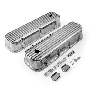 Chevy Bbc 454 Classic Nostalgia Finned Aluminum Valve Covers Tall W Hole