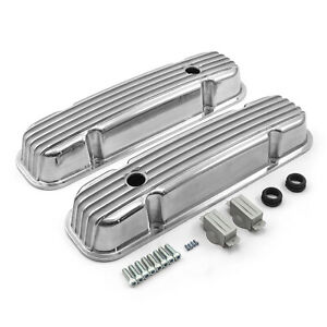 Pontiac 326 400 455 Polished Nostalgic Finned Aluminum Valve Covers W hole