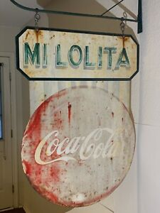 Vintage COCA-COLA DOUBLE SIDED SIGN - With Wrought Iron Hanger - Circa 1950-60's