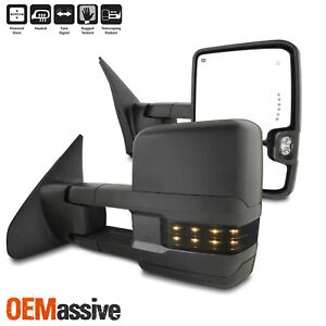 For 07 20 Toyota Tundra Black Power Towing Mirrors W Heated Blind Spot