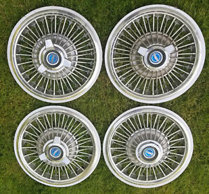 67 68 69 Ford Mustang Wire Spoke Hub Caps And Rims 14 Wheel Covers 8 Pieces