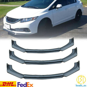 Matte Black Front Bumper Lip Splitter For 2013 2015 9th Honda Civic Sedan Si 4pc