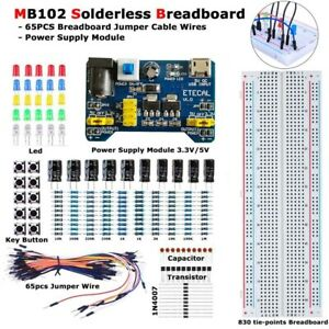 Mb 102 Solderless Breadboard Protoboard 830 Tie Points Test Circuit Pcb Set Kit