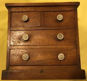Walnut Miniature Chest Of Drawers W 4 Drawers Square Nails 8 3 8 T 8 1 2 W X 5 D