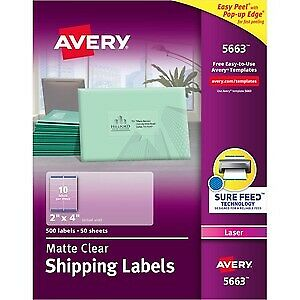 Avery Easy Peel Clear Shipping Labels For Laser Printers 2 X 4 Box Of 500