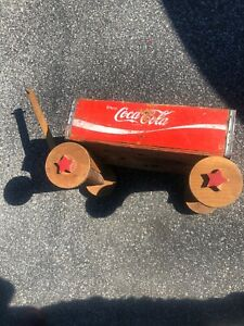 Vintage COCA-COLA RED WOOD CRATE WAGON Wooden Coke