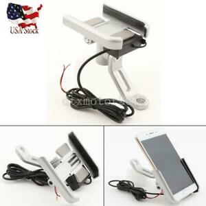 Silver New Motorcycle Bicycle Bike ATV Mirror Base Phone Holder w/ USB Charger