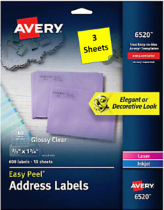 3 Sheets Avery 6520 Glossy Clear Address Labels 2 3 X 1 3 4
