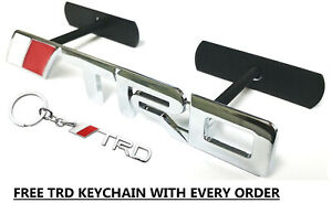 Toyota Trd Red Silver Metal Badge Grill Grille Emblem 2 4 Days Delivery Time