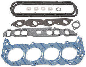 Edelbrock 7363 Top End Head intake valve Cover header Gaskets Bbc Oval Port