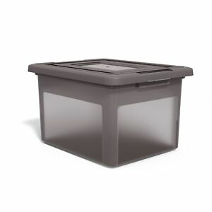 Tru Red Hanging File Box Snap Lid Letter legal Size Frost Gray 140098