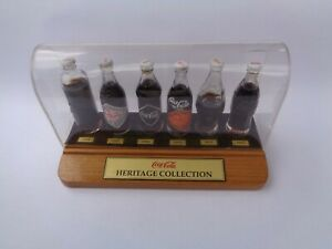 Coca-Cola Miniature Sealed Bottles Heritage Collection with Display Case 1990s