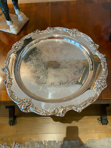 Reed Barton Silverplate King Francis Round Tray 1686 Diameter Is 14 7 8