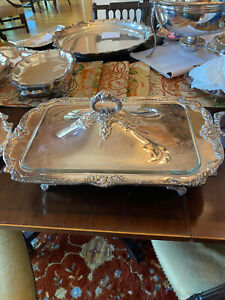 Estate Reed Barton Silver Plate King Francis 1668 Buffet Server Footed W Lid