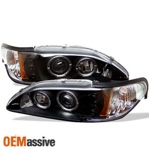 Fits 94 98 Mustang 1pc Dual Halo Projector Led Black Headlights W Corner Signal