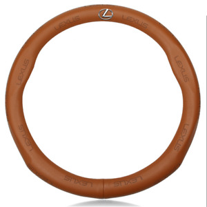 Hot Car Steering Wheel Cover For Lexus Logo Genuine Leather Brown 38cm M Size