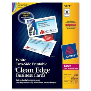 Avery Two side Printable Clean Edge Business Cards White Pack Of 200