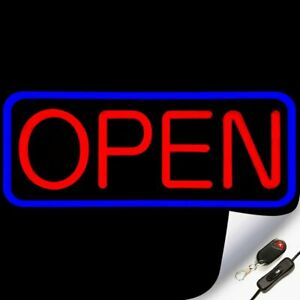 Large Flashing Led Neon Open Sign Light For Businesses With Remote Blue Red