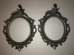 Pair Vintage Metal Brass Frames Wall Picture Brevettato Italy Baroque Cast