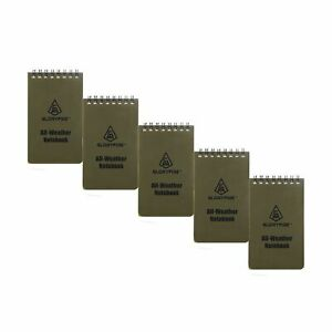Gloryfire Waterproof Notebooks Tactical All weather Spiral Memo Papers Wood 5pcs
