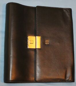 Vtg A5 Classic 1 Black Leather Tri fold Time Systems Intl Planner Franklin