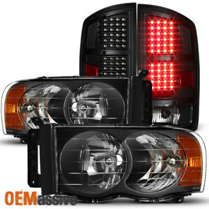 Fit 2002 05 Dodge Ram 1500 03 05 Ram 2500 3500 Black Headlights led Tail Lights