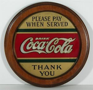 ORIGINAL 1920s COCA-COLA REVERSE ON GLASS ADVERTISING SIGN - ROG ROUND COKE SIGN