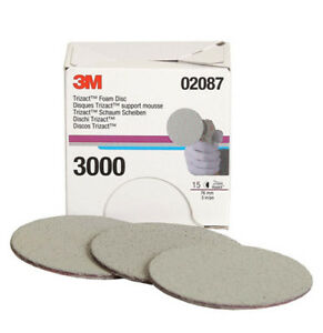 For 3m 02087 Trizact Hookit 3 Inch P3000 Grit Foam Disc Automotive 1 15sheets
