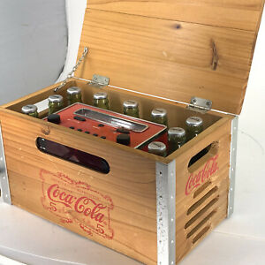 Coca Cola Wood Crate Radio AM/FM With Digital Time Display Alarm Clock  Tested
