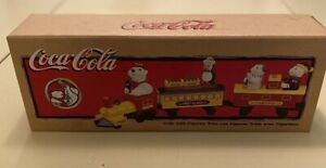 Very Rare-Mint in Box-Vintage Coca Cola Train with Polar Bear Figures-1998