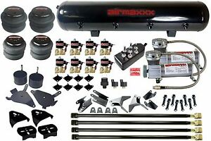 Air Kit For Chevy S10 4 Link Compressors Air Bags Valves Black 7 Toggle Tank