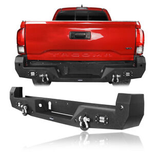 Back Rear Bumper W 2x Led Floodlights Steel Textured For Toyota Tacoma 2016 2020