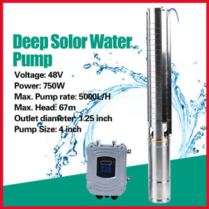 4 Dc Deep Bore Well Solar Water Pump 48v 1hp Submersible Mppt Controller Kit